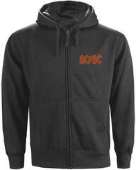 AC/DC Unisex Zipped Hoodie Logo Charcoal (Back Print) XL