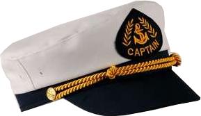 Sailor Captain Hat White/Navy