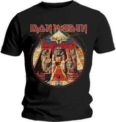Iron Maiden Unisex Tee Powerslave Lightning Circle Black