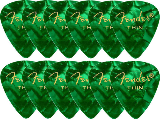 Fender 351 Shape Premium Picks Green Moto Thin 12 Pack