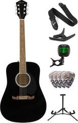 Fender FA-125 Dreadnought Acoustic WN Black Deluxe SET