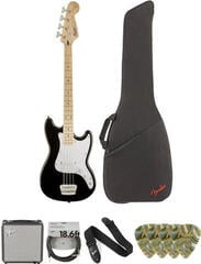 Fender Squier Bronco Bass MN Black Deluxe SET