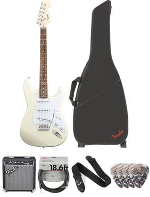 Fender Squier Bullet Stratocaster Tremolo IL Arctic White Deluxe SET