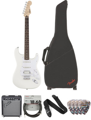 Fender Squier Bullet Stratocaster HSS HT IL Arctic White Deluxe SET