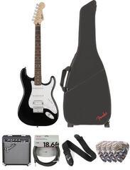 Fender Squier Bullet Stratocaster HSS HT IL Black Deluxe SET