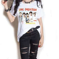 One Direction Ladies Fashion Tee Individual Shots with Cut-outs White