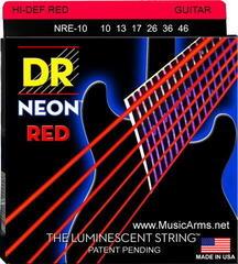 DR Strings NRE-10 K3 Neon Red Electric Lite