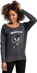 Motörhead Ladies Motörhead Logo Burnout Open Edge Crewneck Dark Grey