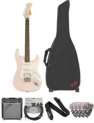 Fender Squier Bullet Stratocaster Tremolo HSS IL Shell Pink Deluxe SET
