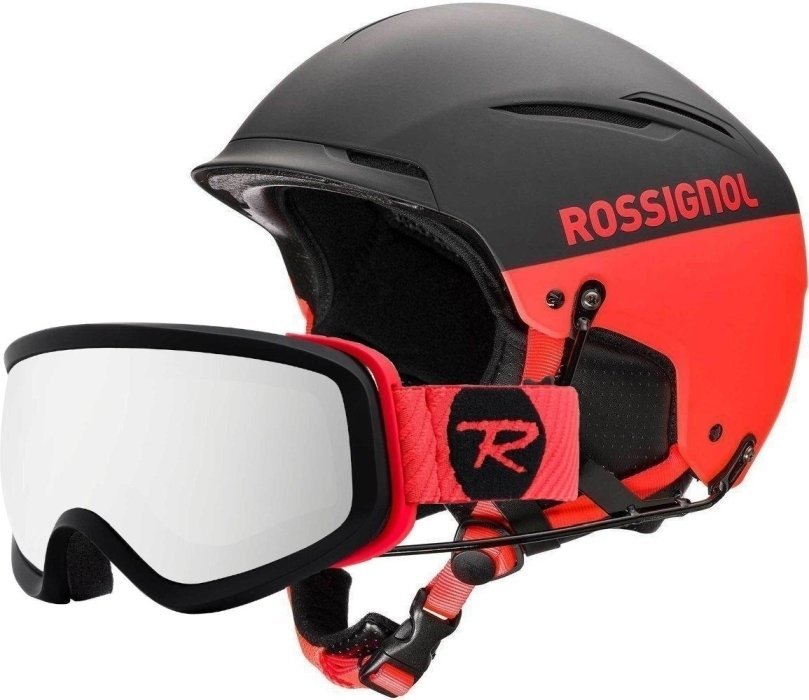 Rossignol Hero Templar SL Impacts + Chinguard Ski Helmet Black/Red S/M SET