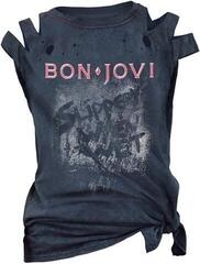 Bon Jovi Slippery When Wet Acid Wash/Cut Womens Premium T-Shirt Blue