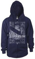 Led Zeppelin Vintage Print LZ1 Hooded Sweatshirt Zip Navy