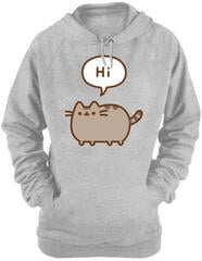 Pusheen Hi/Bye Grey Womens Hooded Pouch Sweat XL