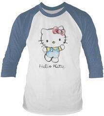 Hello Kitty Watercolour Long Sleeved Baseball Shirt White/Blue