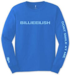Billie Eilish Unisex Long Sleeve Tee Smile (Back & Arm Print) Blue