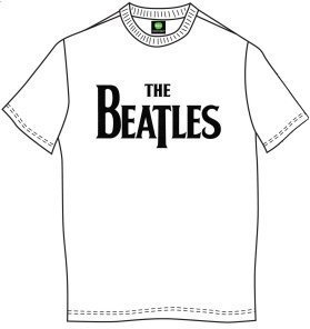 The Beatles Unisex Tee Drop T Logo White (Retail Pack) XXL