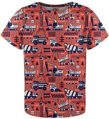 Mr. Gugu and Miss Go Trucks Orange Pattern T-Shirt for Kids Fullprint