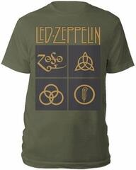 Led Zeppelin Gold Symbols & Black Squares T-Shirt Green