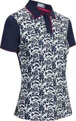 Callaway Floral Polo with Tipping Womens Polo Shirt Peacoat