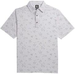 Footjoy Lisle Flock Birds Mens Polo Shirt White/Grey