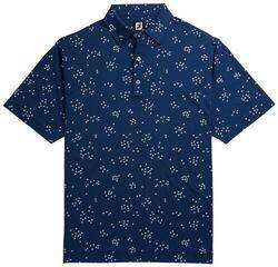 Footjoy Lisle Flock Birds Mens Polo Shirt Blue/White