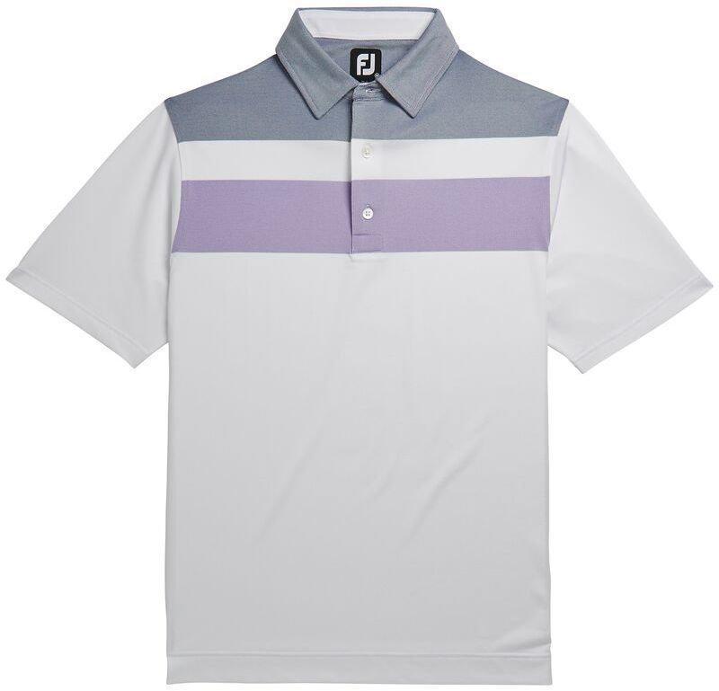 Footjoy Double Block Birdseye Pique Mens Polo Shirt White/Soft Purple/Deep Blue L Miss Sixty