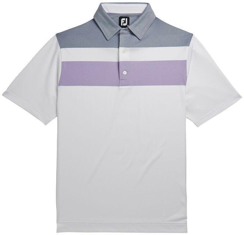 Footjoy Double Block Birdseye Pique Mens Polo Shirt White/Soft Purple/Deep Blue XL Miss Sixty
