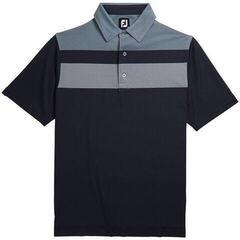 Footjoy Double Block Birdseye Pique Mens Polo Shirt Navy/White/Blue Fog