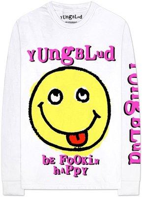 Yungblud Unisex Long Sleeved Tee Raver Smile (Arm & Back Print) White XL