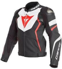 Dainese Avro 4 Leather Jacket Black Matt/White/Fluo Red