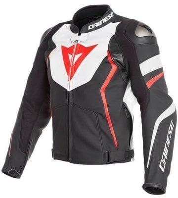 Dainese Avro 4 Leather Jacket Black Matt/White/Fluo Red 54