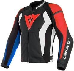 Dainese Nexus Leather Jacket Black/Lava Red/White/Blue 54