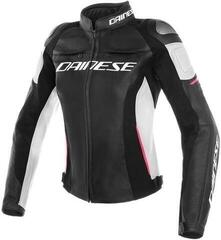 Dainese Racing 3 Lady Leather Jacket Black/White/Fuchsia
