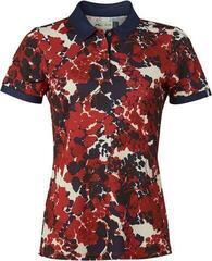 Kjus Enya Printed Womens Polo Shirt Tango Red/Atlanta Blue