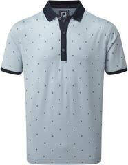 Footjoy Birdseye Argyle Mens Polo Shirt Blue Fog/White/Navy