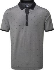 Footjoy Birdseye Argyle Mens Polo Shirt Black/White