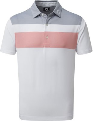 Footjoy Double Block Birdseye Pique Mens Polo Shirt White/Coral/Slate L