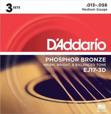 D'Addario EJ17 Phosphor Bronze Medium 13-56 (3 Pack)