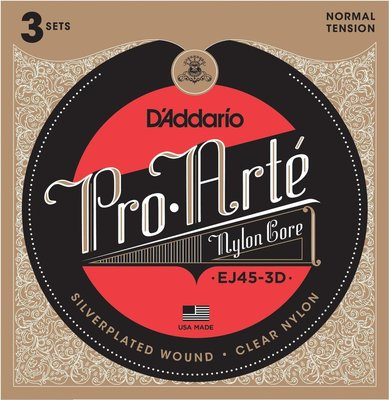 D'Addario EJ45 Pro-Arté Nylon Normal Tension (3 Pack)