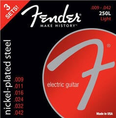 Fender 250L Electric Nickel Plated Steel Ball End 9-42 3 pack