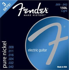 Fender 150L Electric Pure Nickel Ball End 9-42 3 Pack