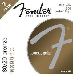 Fender 70L Acoustic 80/20 Bronze 12-52 3 Pack