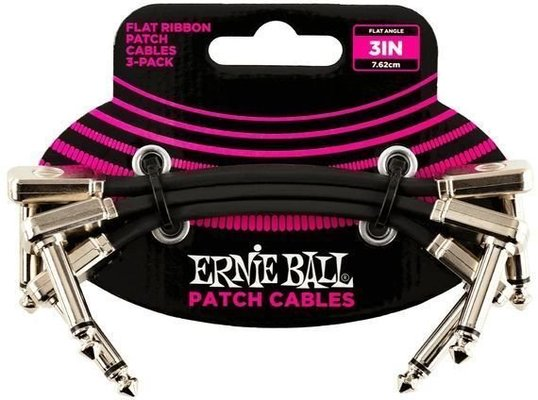 Ernie Ball 6220 3'' Flat Ribbon Patch Cable 3-Pack