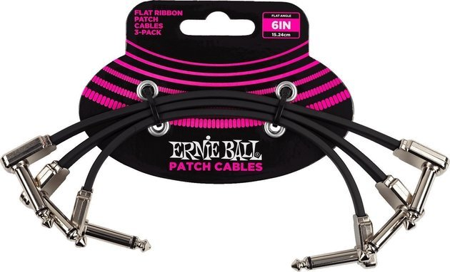 Ernie Ball 6221 6'' Flat Ribbon Patch Cable 3-Pack