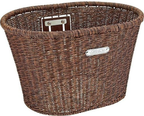 Electra Plastic Woven Basket Dark Brown