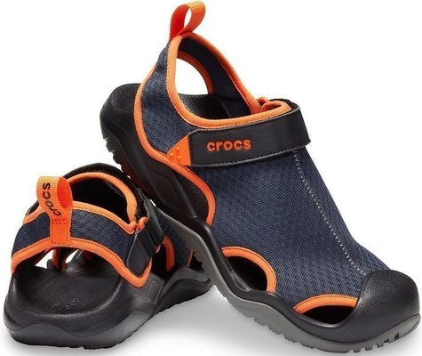 Crocs Men's Swiftwater Mesh Deck Sandal Navy/Tangerine 45-46