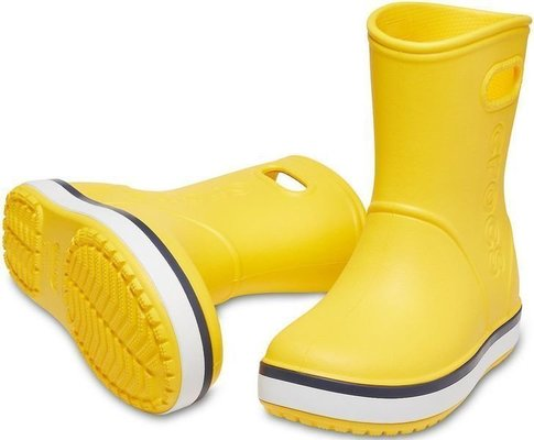 Crocs Kids' Crocband Rain Boot Yellow/Navy 23-24