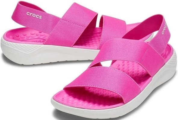 Crocs Women's LiteRide Stretch Sandal Electric Pink/Almost White 38-39