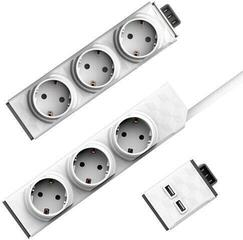 PowerCube PowerStrip Modular Switch 1,5m + modul Strip + 1x USB modul White 1,5 m