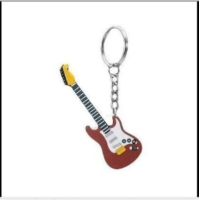 Musician Designer Music Key Chain Electric Guitar Brown